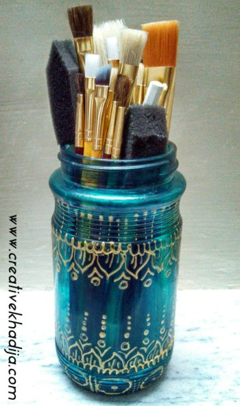 glass painted jar brushes organizer idea
