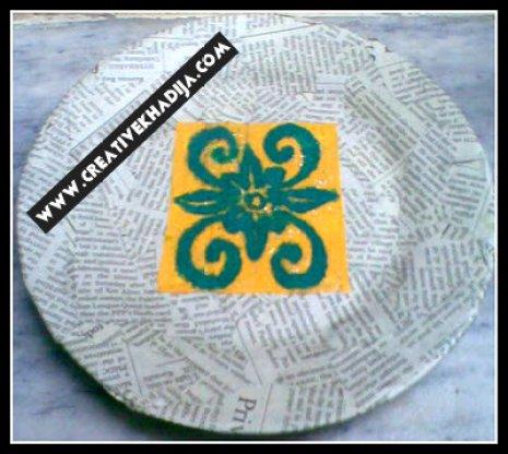 fall paper decoupage plate