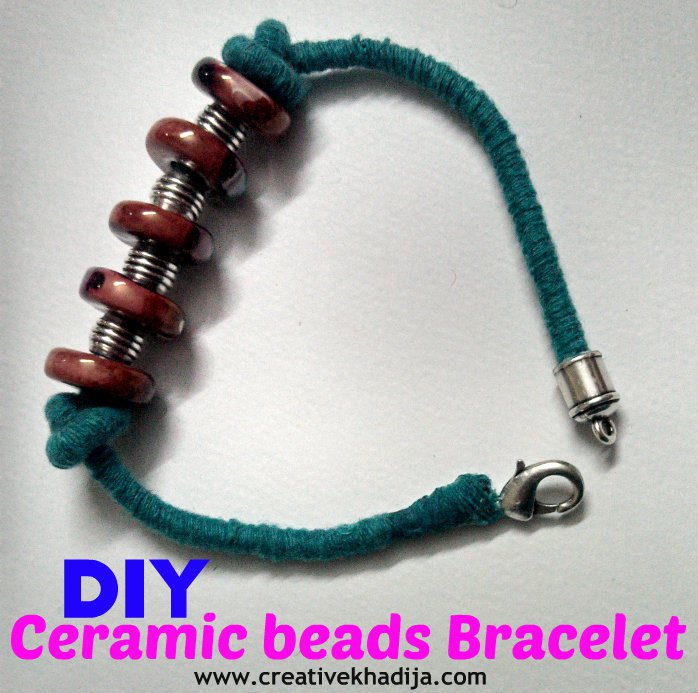 DIY handmade bracelet with ceramic beads
