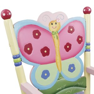girls rocking chair butterfly backing