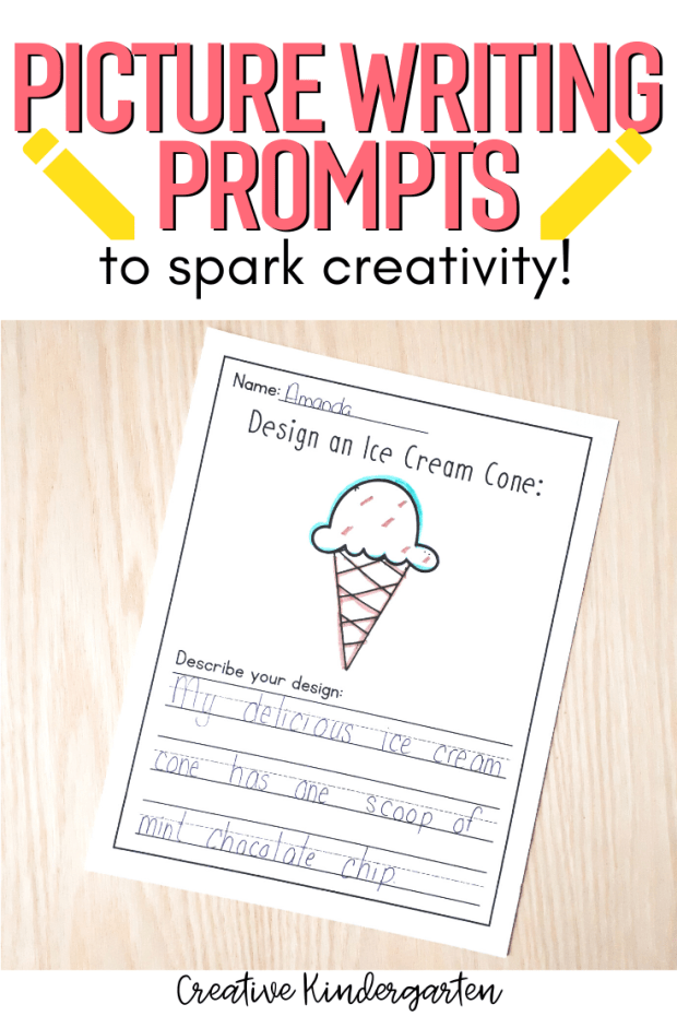 Creative writing prompts for kindergarten students to reinforce writing skills. Practice using adjectives and descriptive words in their writing. Perfect to use with your guided writing group.