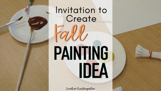 Fall painting idea: invite students to create their own warm-colored fall inspired painting. Teach about warm colors and inspire creative thinking with this fun art provocation.