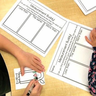 Measurement Buddies math center for kindergarten students