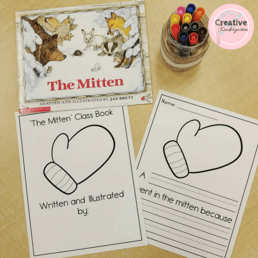 Class book writing prompt for the book The Mitten