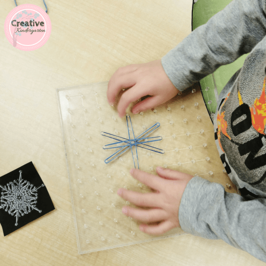 Snowflake invitation to create with geoboards for kindergarten.
