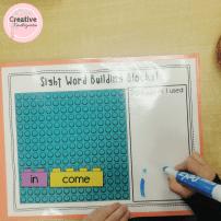 Sight word building blocks literacy center for kindergarten