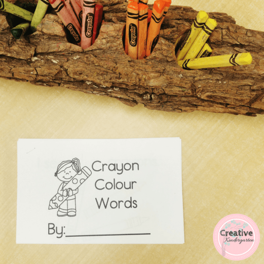 Crayon Color Words emergent reader book for kindergarten