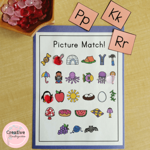 Literacy phonics center for kindergarten students. Pick a letter and cover the picture that begins with it.