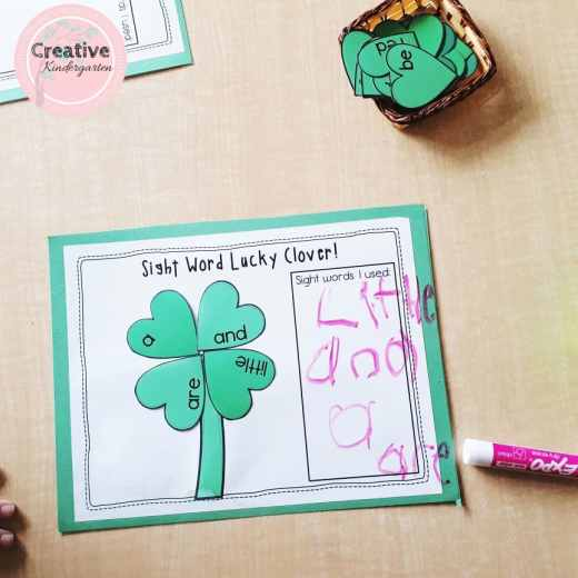 Sight word lucky clover literacy center for kindergarten. Practice sight word recognition and spelling with this fun activity.