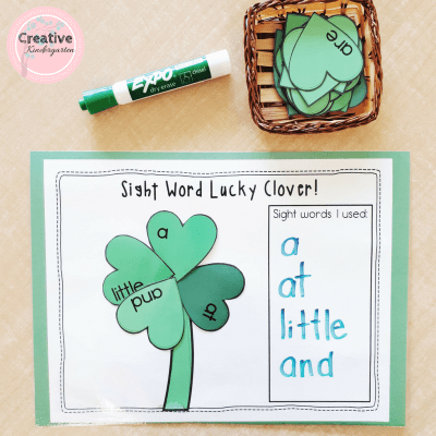 Saint-Patrick's Day lucky clover sight word activity. Literacy center for kindergarten to reinforce sight word recognition and spelling.