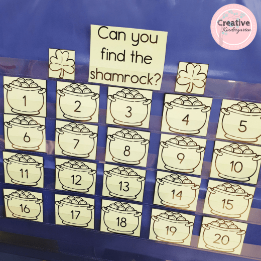 Can you find the shamrock? math game for kindergarten students. Practice number recognition with this fun math center.