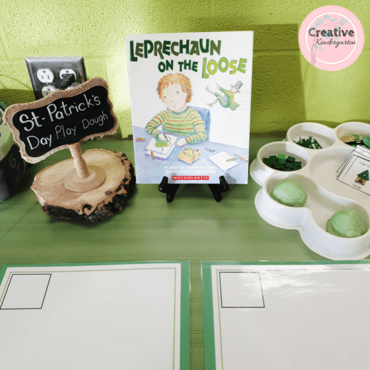 Saint-Patrick's Day play dough invitation to create. Loose parts and task cards set out for this literacy center.