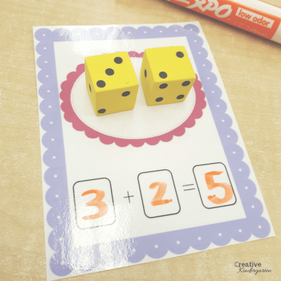Dice addition work mats for kindergarten math centers. reinforce addition skills with this fun activity