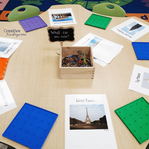 Geo-board structures to work on fine motor skills with your kindergarten students.