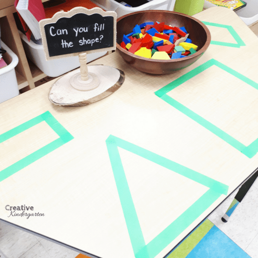 Can you fill the shape? provocation for kindergarten fine motor center. Use pattern blocks to fill in the shapes and build spatial awareness in your kindergarten students.