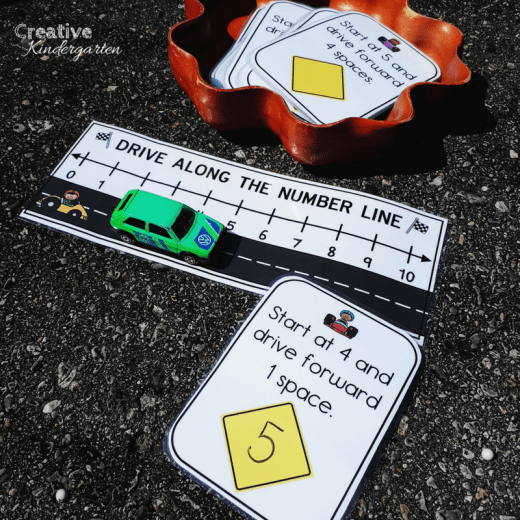 Drive Along the Number Line kindergarten math center for reinforcing adding and subtracting skills. A fun, play-based activity that is perfect for practicing addition and subtraction skills.