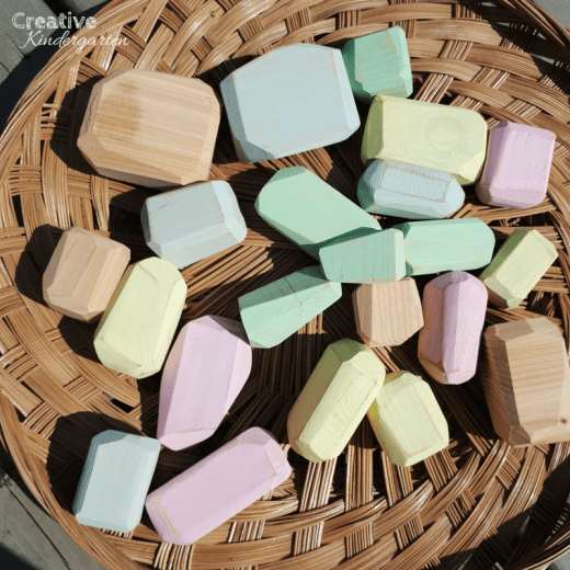 DIY wood gems for your kindergarten classroom. Great for addition to your building center, STEM challenges, loose parts.