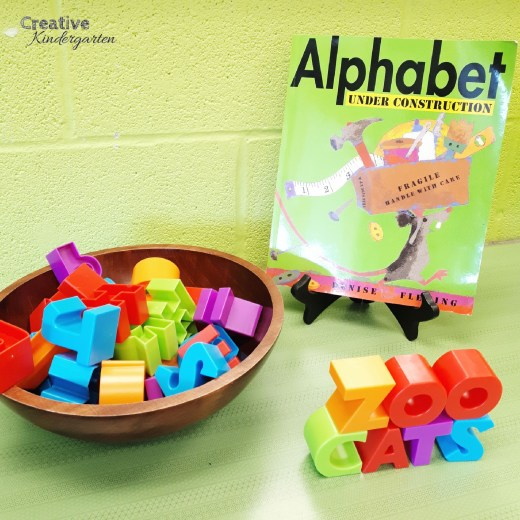alphabet building blocks provocation. Literacy center to build words, work on sight words or letter recognition