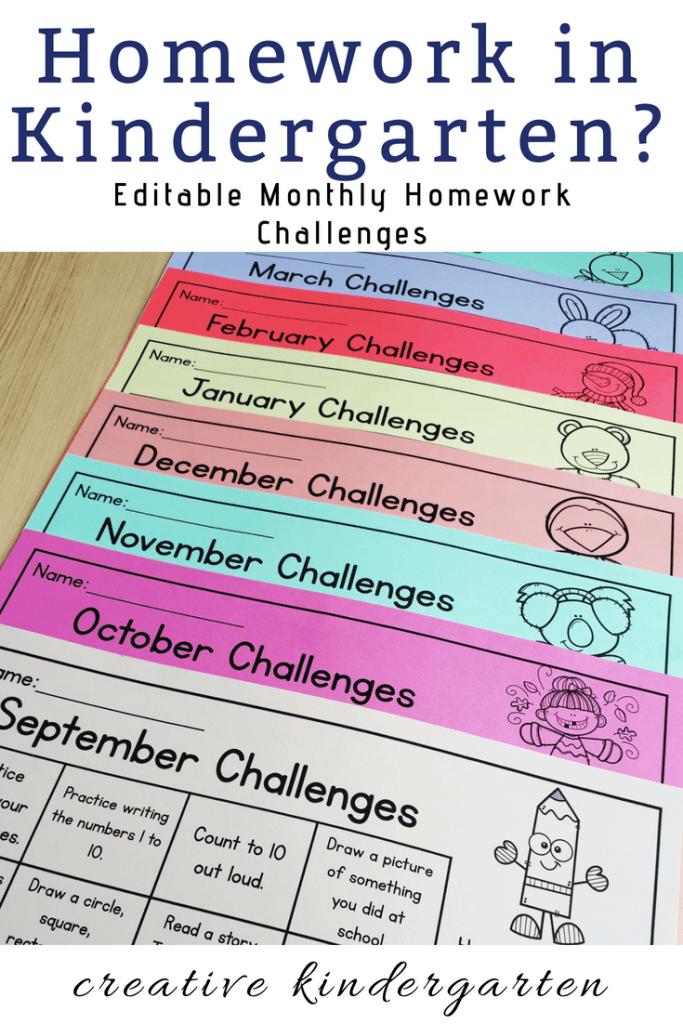 Editable monthly homework challenges calendar for kindergarten.