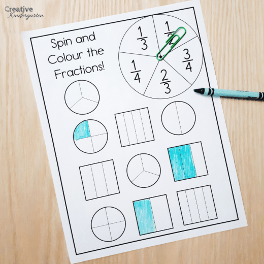 Easy Print and Prep fraction activities for kindergarten math centers. Assess, review or introduce fractions to your students with these fun, hands-on activities.