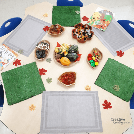 Fall loose parts set-up for kindergarten. A creative center for students to create and explore at.