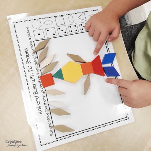 Easy print and prep 2D shape activities for kindergarten math centers. Fun, hands-on ways to reinforce 2d shape recognition.