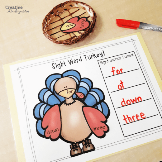 Turkey sight word literacy center for kindergarten. Practice sight word recognition and spelling with this fun, hands-on center perfect for fall or Thanksgiving activity.