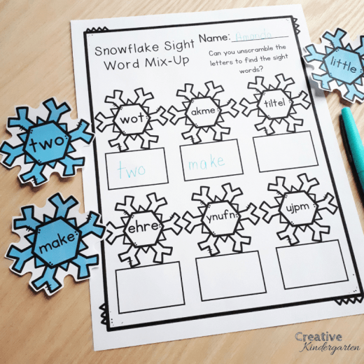 Snowflake sight word literacy center for kindergarten morning work or tubs. Perfect for sight word recognition and sight word spelling literacy center.