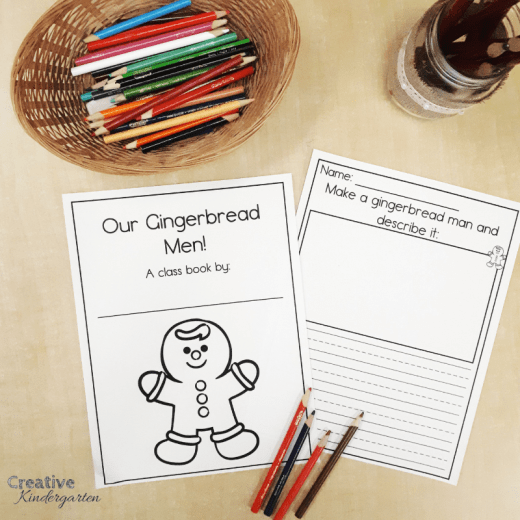 Gingerbread Man class book writing prompt for kindergarten writer's workshop. Reinforce writing and describing words using this fun and easy writing activity