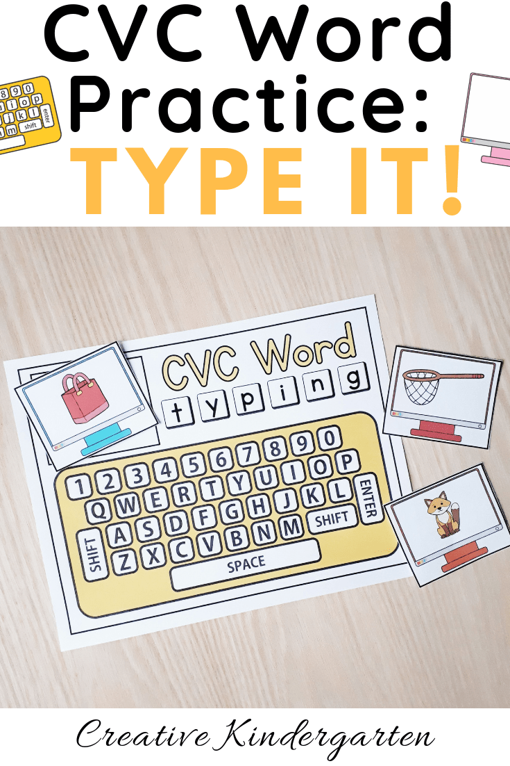 CVC word typing center for writing practice in kindergarten. Practice phonics and literacy skills with this hands-on activity.