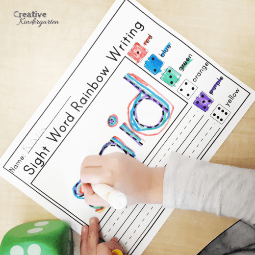 sight word rainbow writing to reinforce sight word recognition and formation for kindergarten literacy centers, morning work or work tubs