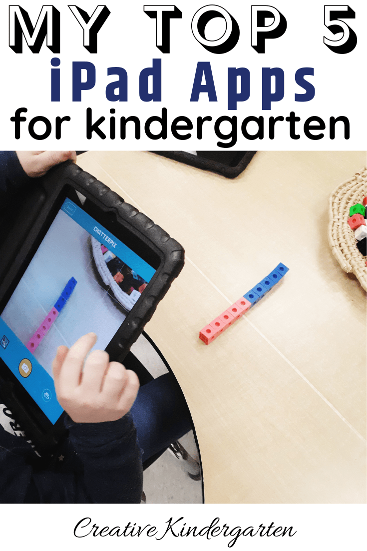 my top 5 ipad apps for kindergarten students. ideas on how to use the apps in your kindergarten classroom. incorporate technology into your literacy, math and science centers.