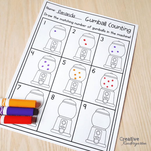 Use fun and engaging activities to practice counting, 1:1 correspondence, and number formations.
