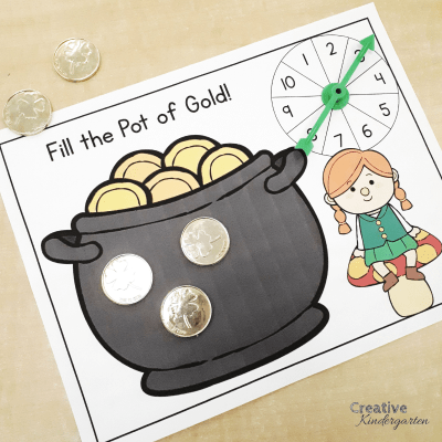 Spin and Fill the Pot of Gold math activity for kindergarten. Reinforce number recognition, one-to-one correspondence and counting skills!