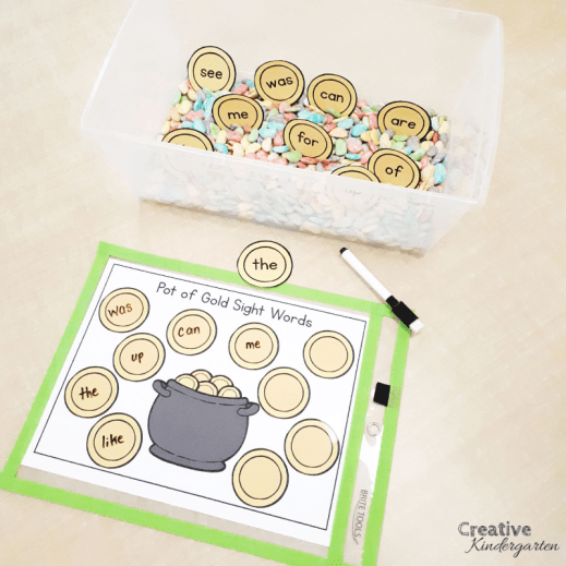 Pot of Gold Sight Words literacy center for kindergarten. Reinforce sight word recognition and spelling with this fun, hands-on activity. It works great for literacy centers of sensory bins.