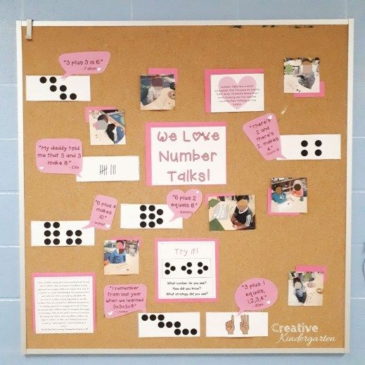 We Love Number Talks bulletin board for kindergarten. A great way to display math language and thinking in your classroom.