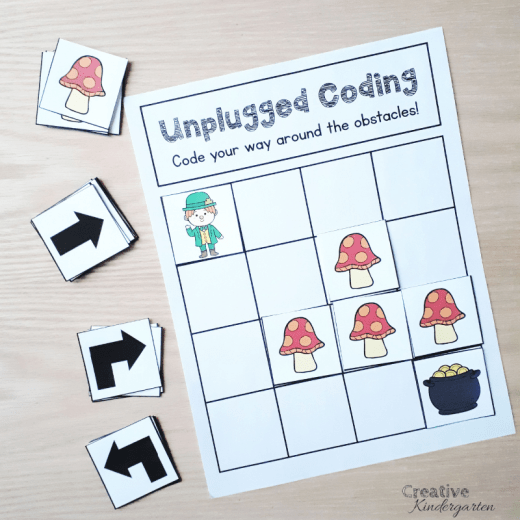 Unplugged Coding activity for beginning coding skills. Use directional coding to program a path around obstacles. No tech needed for this fun, hands-on activity to practice how to code with kindergarten students.