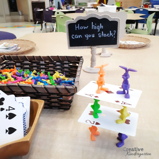 Easter STEM challenge for kindergarten building provocation. Work on problem-solving skills with this fun spring activity.
