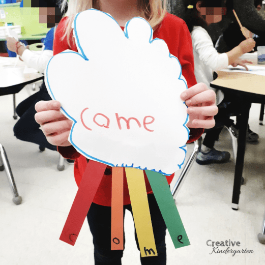 kindergarten sight word craft. Make a rainbow using your sight word. A fun, hands-on literacy center to reinforce sight words.