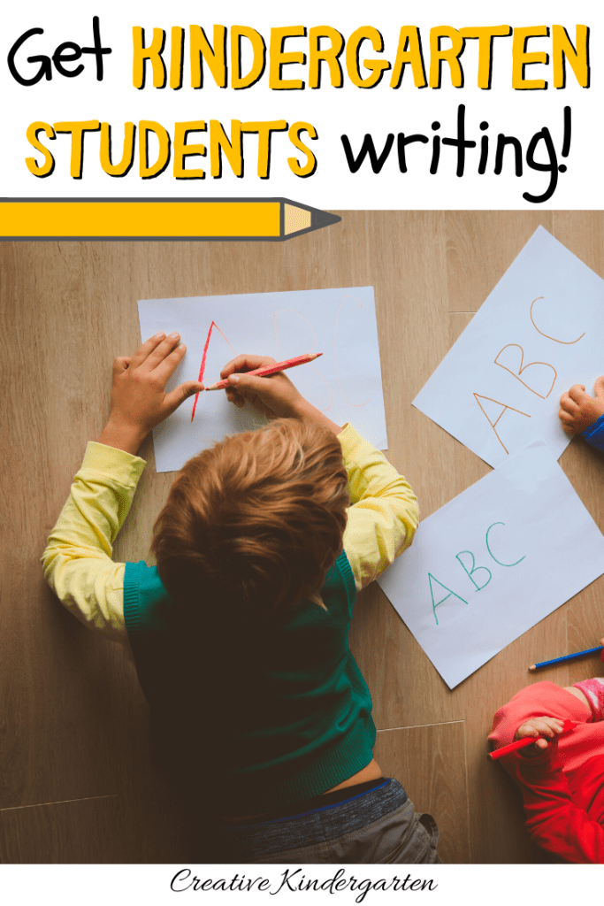 Kindergarten Writing: read about tips and tricks to get your kindergarten students writing. With hands-on ideas and a freebie to get your writing center started, you will have your students writing in no time! #kindergartenwriting #kindergartenwritingcenter #writingcenter #creativekindergarten