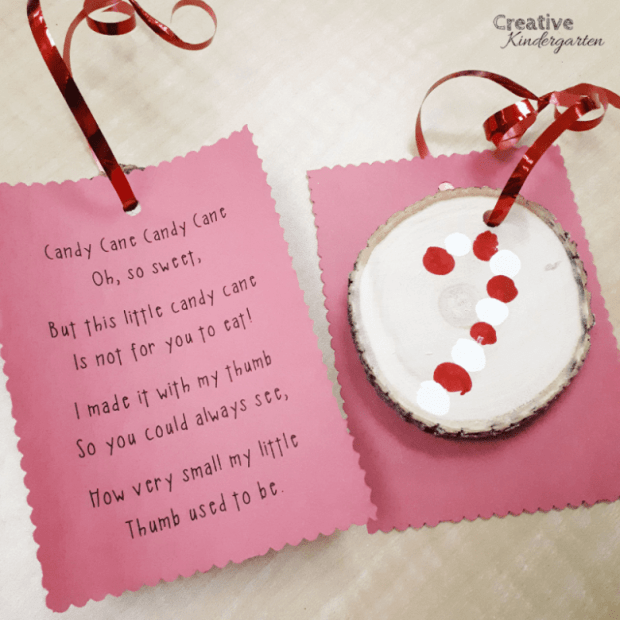 Want to send your students home with a cute ornament? These thumbprint candy cane ornaments are so cute, and a nice present for families.