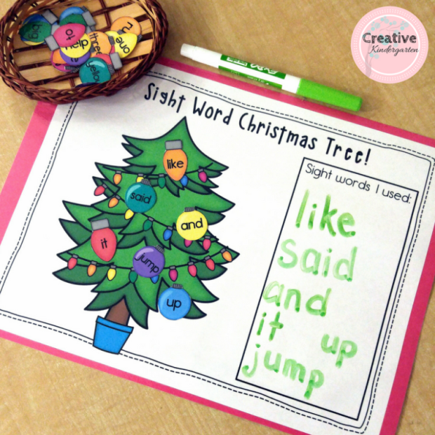 Christmas tree sight words activity for kindergarten literacy centers.