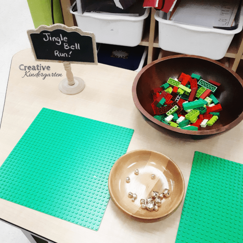 Jingle Bell Run build a maze STEM challenge for kindergarten christmas activities.