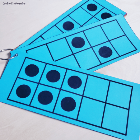 Number talk cards to start a number talk routine with your kindergarten students. These 10 ten frame cards will make starting them easy.