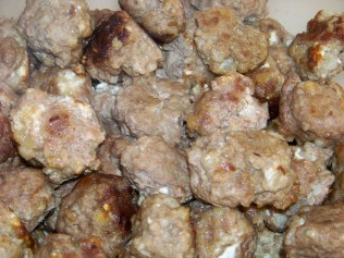 Meatballs in the container.