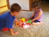 Joshua and Kiley playing Hungry Hippos