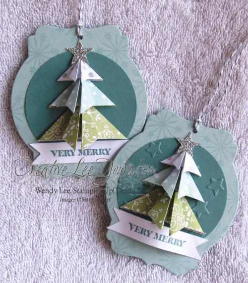 Napkin Fold Christmas Tag by wendy lee, creativeleeyours, cheerful tags, Stampin' Up!