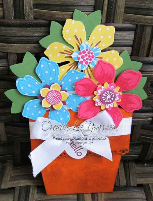 Flower Pot Card by Wendy Lee, #creativeleeyours, Stampin' Up!, April 2015 FMN class
