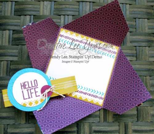Hello Life Pinwheel Card by Wendy lee, #Creativeleeyours, Stampin' Up!, Bohemian Borders