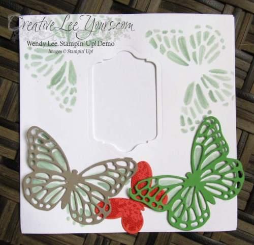 Butterfly Footprints by Gwen Willimas, #creativeleeyours, Stampin' Up!, Butterfly thinlits, diemonds team swap